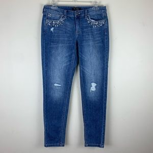 WHBM Embellished Girlfriend Skinny Jeans NWOT